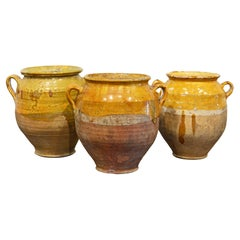 Group of Three Large 19th and Early 20th Century French Terracotta Confit Pots