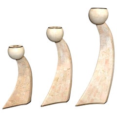 Group of Three Maitland Smith Tessellated Stone Candlesticks