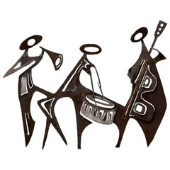 Group of Three Midcentury Brutalist Iron Musicians Wall Sculpture