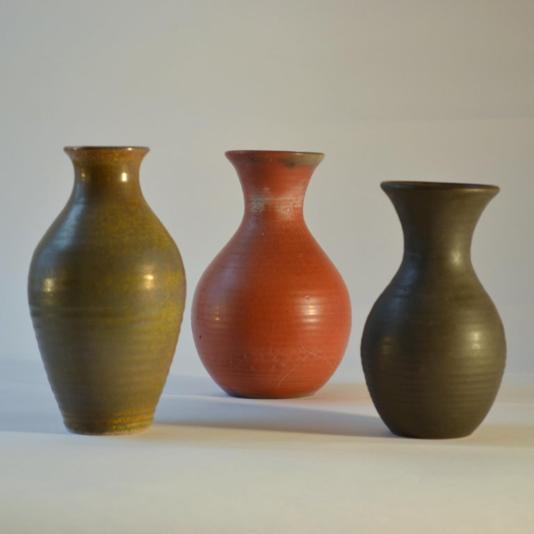 Mid-Century Modern Group of Three Midcentury Ceramic Dutch Studio Vases For Sale