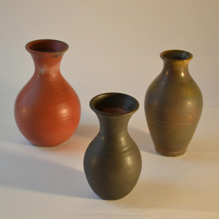 Glazed Group of Three Midcentury Ceramic Dutch Studio Vases For Sale