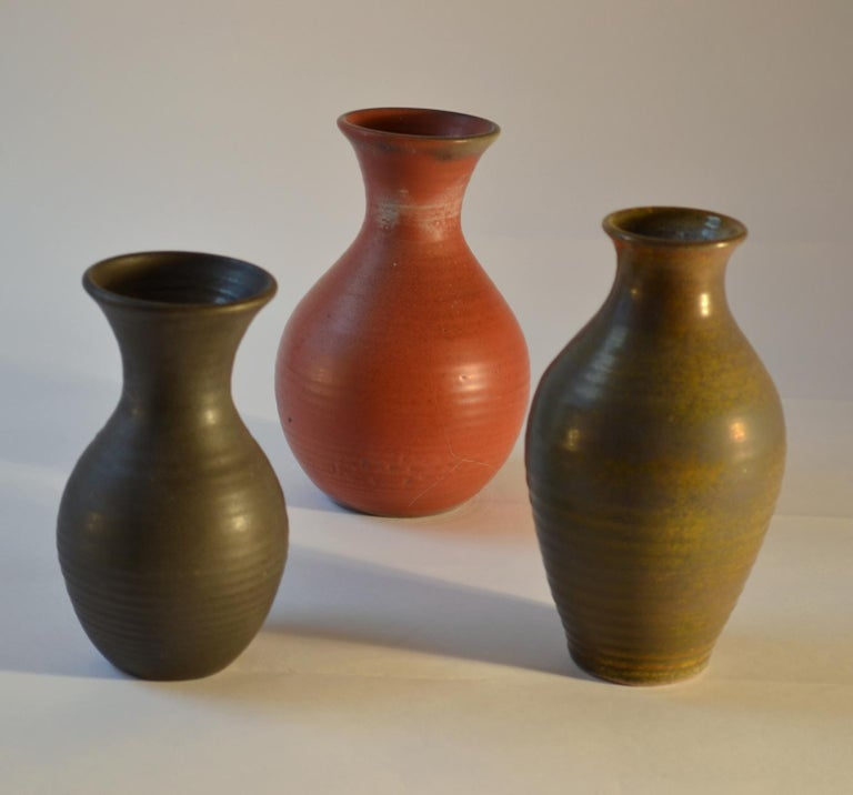 Group of Three Midcentury Ceramic Dutch Studio Vases In Excellent Condition For Sale In London, GB