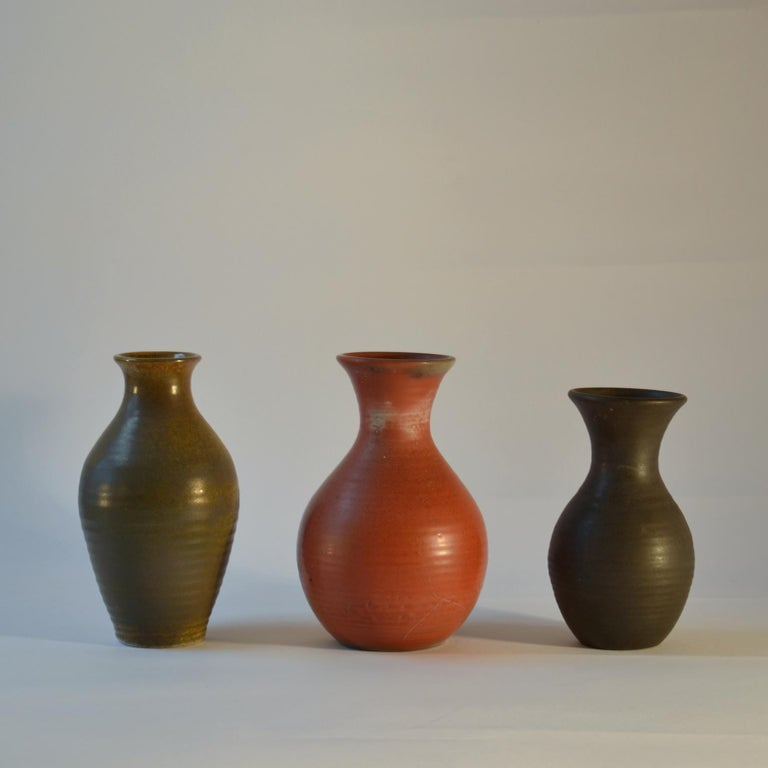 Mid-20th Century Group of Three Midcentury Ceramic Dutch Studio Vases For Sale