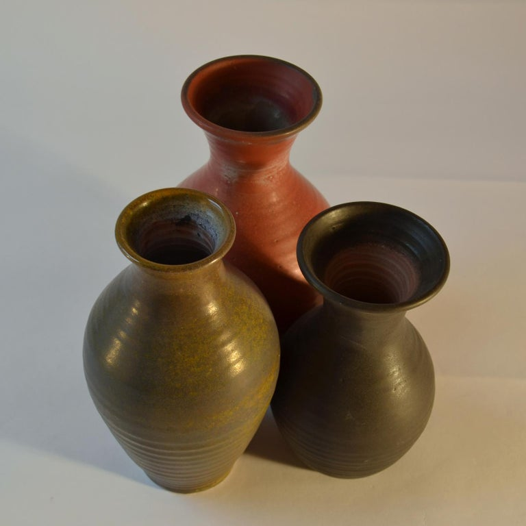 Group of Three Midcentury Ceramic Dutch Studio Vases For Sale 1