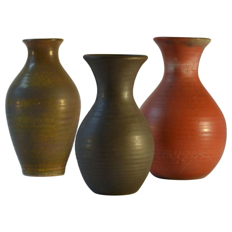 Group of Three Midcentury Ceramic Dutch Studio Vases For Sale