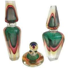 Group of Three Murano Glass Perfume Bottles