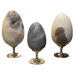 Group of Three Natural Agate Sculptures
