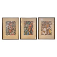 Group of Three Picasso Style Prints, Framed and Matted