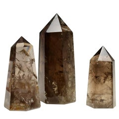 Group of Three Smoky Rock Crystal Obelisks