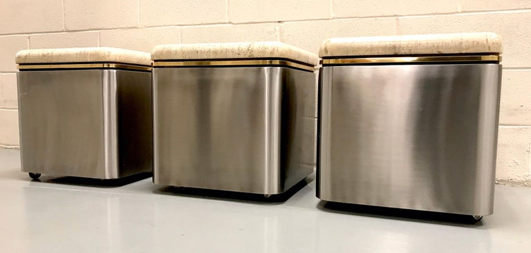 Group of Three Stainless Steel, Brass and Travertine Tables on Casters For Sale 6