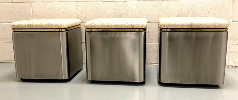 Group of Three Stainless Steel, Brass and Travertine Tables on Casters For Sale 8