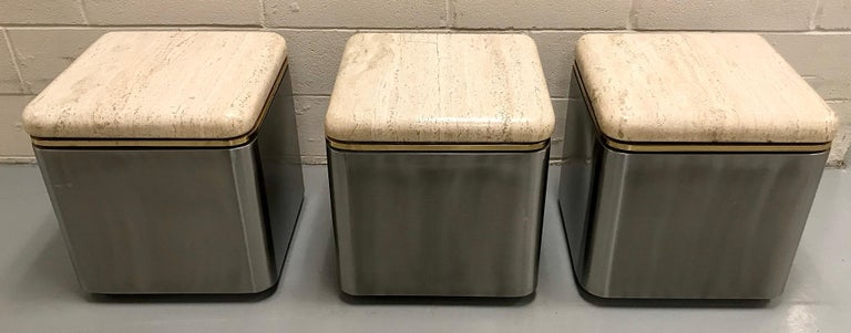 Group of Three Stainless Steel, Brass and Travertine Tables on Casters For Sale 9