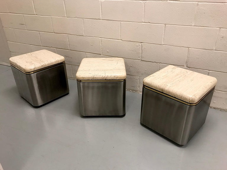 Group of Three Stainless Steel, Brass and Travertine Tables on Casters For Sale 10