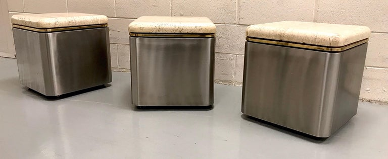 Group of Three Stainless Steel, Brass and Travertine Tables on Casters For Sale 11