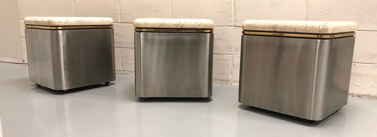 Group of Three Stainless Steel, Brass and Travertine Tables on Casters For Sale 12