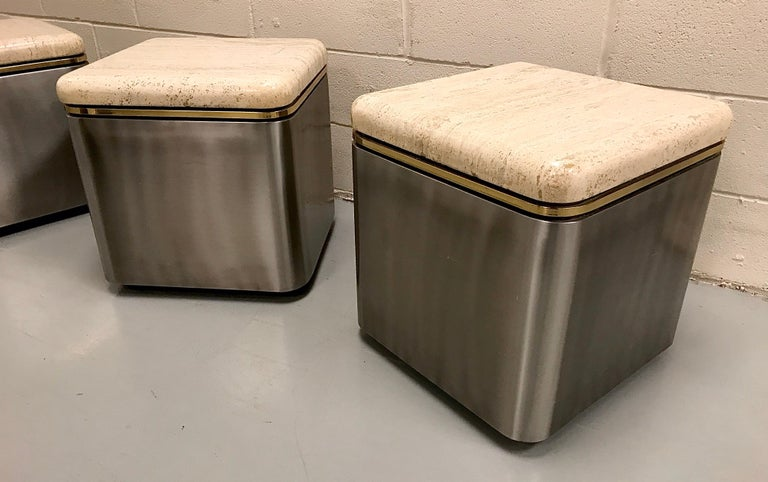 Group of Three Stainless Steel, Brass and Travertine Tables on Casters For Sale 13