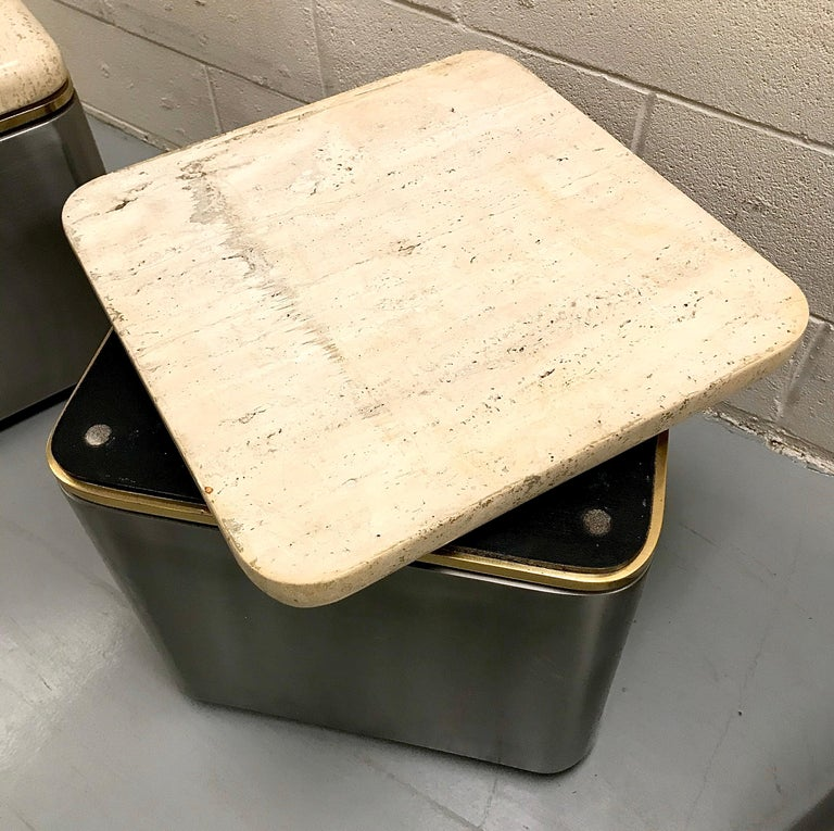 Group of Three Stainless Steel, Brass and Travertine Tables on Casters For Sale 14