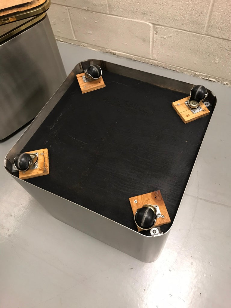 Group of Three Stainless Steel, Brass and Travertine Tables on Casters For Sale 15