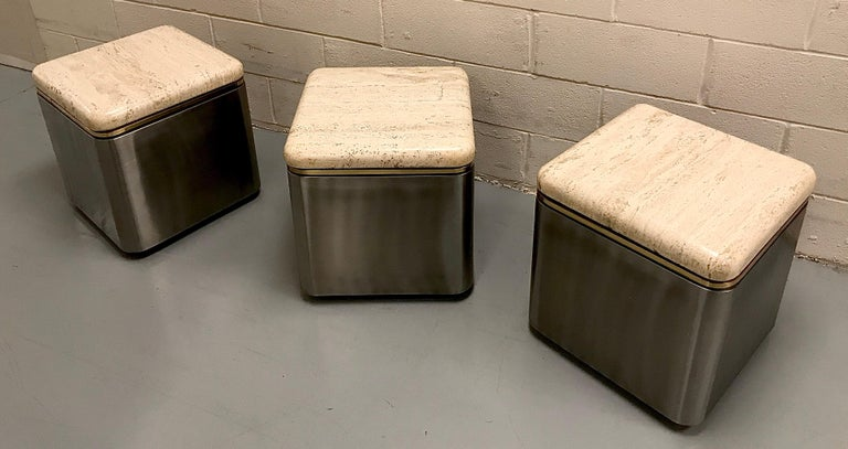 American Group of Three Stainless Steel, Brass and Travertine Tables on Casters For Sale
