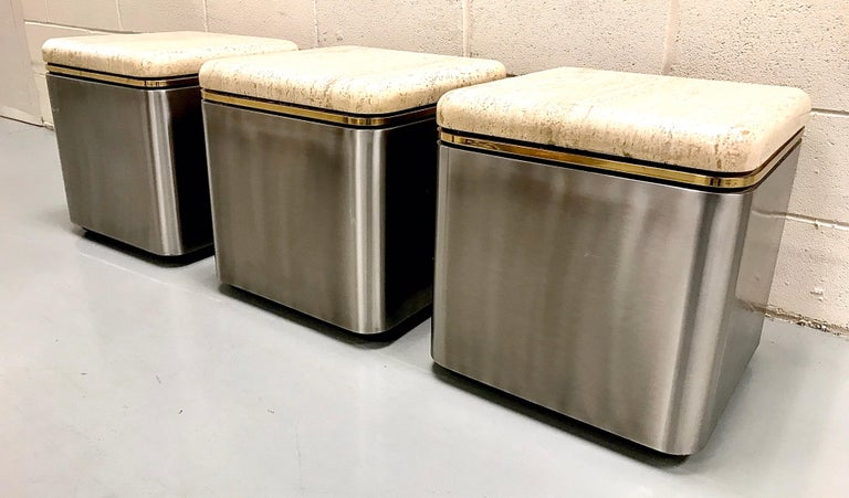 Group of Three Stainless Steel, Brass and Travertine Tables on Casters In Good Condition For Sale In Lake Success, NY