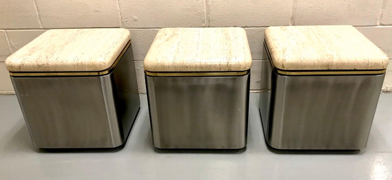 Late 20th Century Group of Three Stainless Steel, Brass and Travertine Tables on Casters For Sale