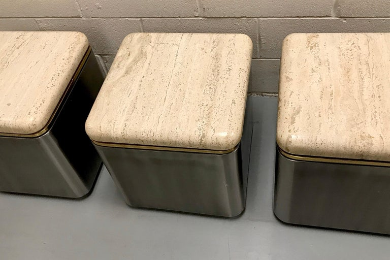 Group of Three Stainless Steel, Brass and Travertine Tables on Casters For Sale 1