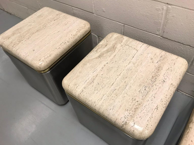 Group of Three Stainless Steel, Brass and Travertine Tables on Casters For Sale 3