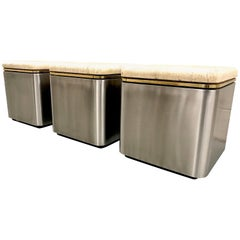 Group of Three Stainless Steel, Brass and Travertine Tables on Casters