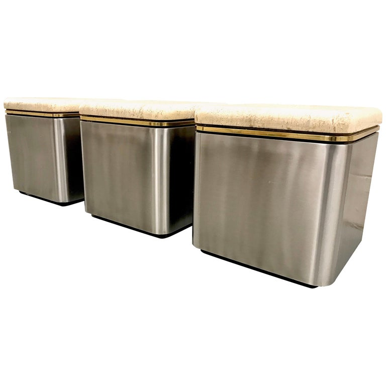 Group of Three Stainless Steel, Brass and Travertine Tables on Casters For Sale