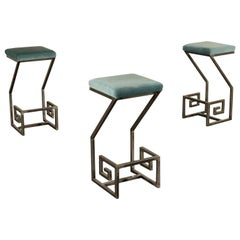 Group of Three Stools Metal Foam Velvet, Italy, 1990s