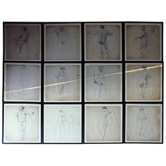 Group of Twelve Framed Nude Pencil Studies by Violet Clinton, circa 1920