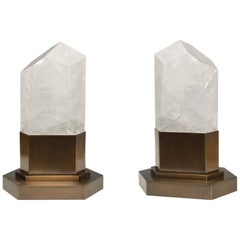 Group of Two Rock Crystal Obelisk Lights by Phoenix