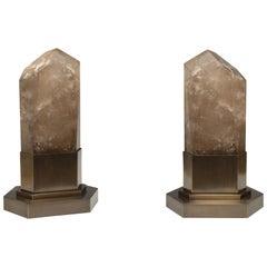 Group of Two Smoky Rock Crystal Obelisk Lights