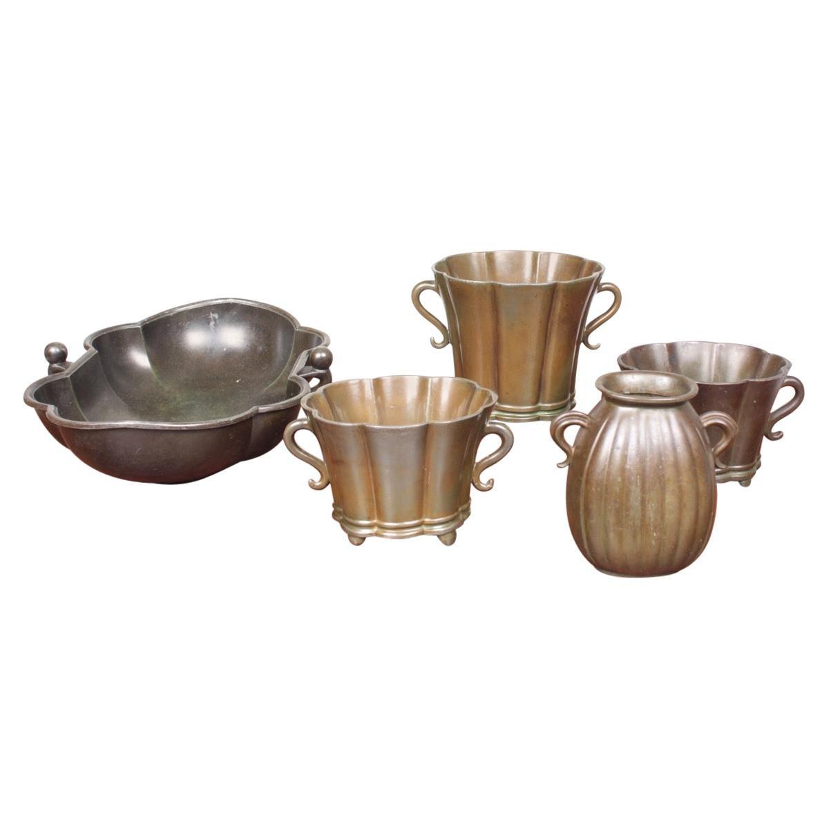 Group of Vases in Disco Metal by Just Andersen Made in Denmark, 1940s
