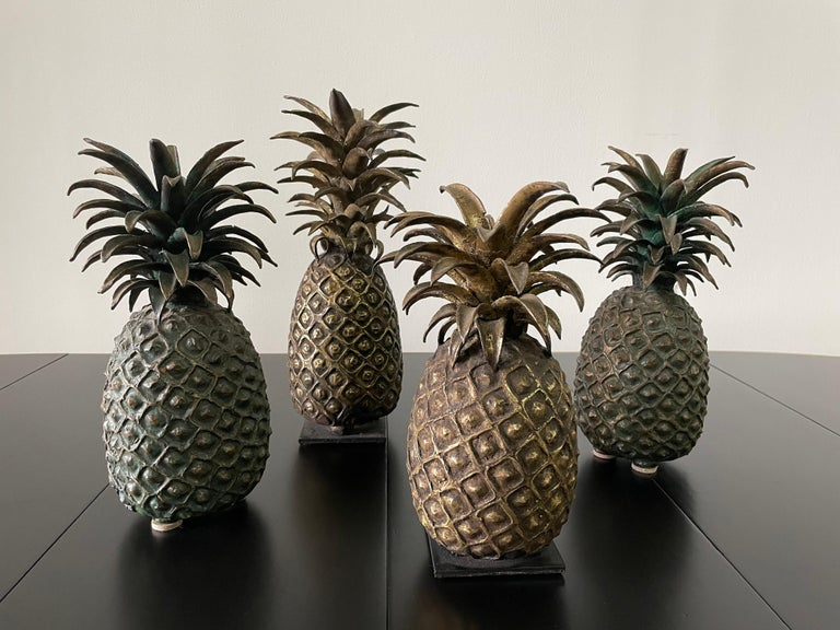 Grouping of 4 Vintage Lost Wax Bronze Pineapple Sculptures from Ivory Coast For Sale 6