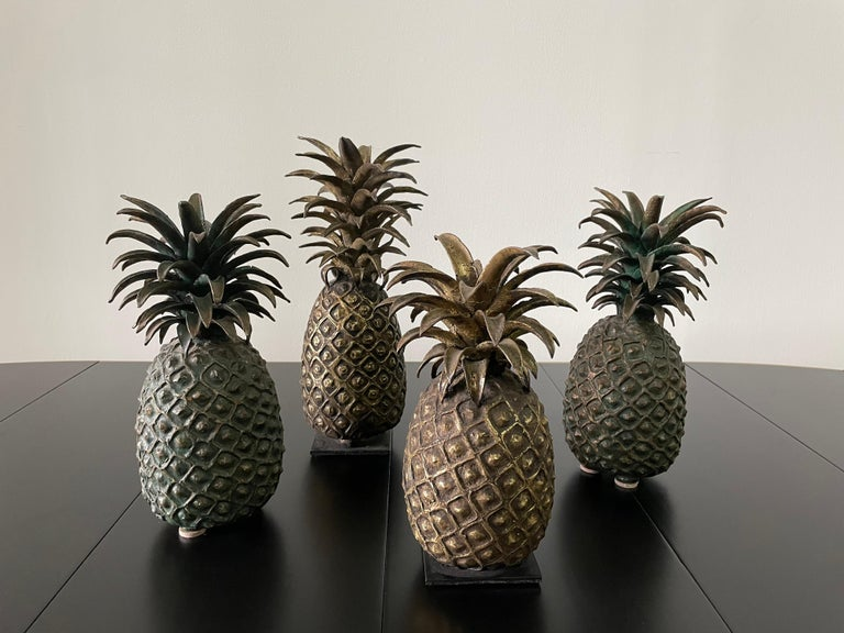 Grouping of 4 Vintage Lost Wax Bronze Pineapple Sculptures from Ivory Coast For Sale 7