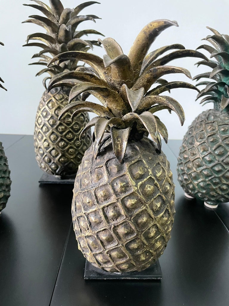 Ivorian Grouping of 4 Vintage Lost Wax Bronze Pineapple Sculptures from Ivory Coast For Sale