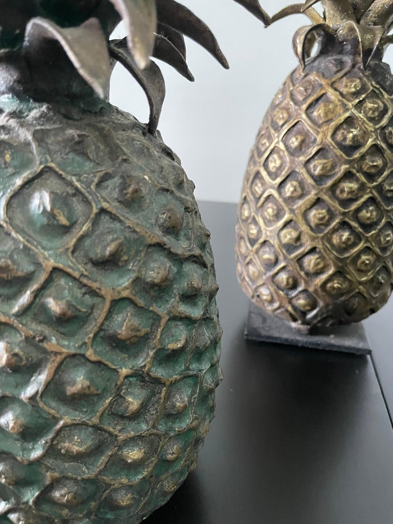 Grouping of 4 Vintage Lost Wax Bronze Pineapple Sculptures from Ivory Coast In Good Condition For Sale In East Hampton, NY