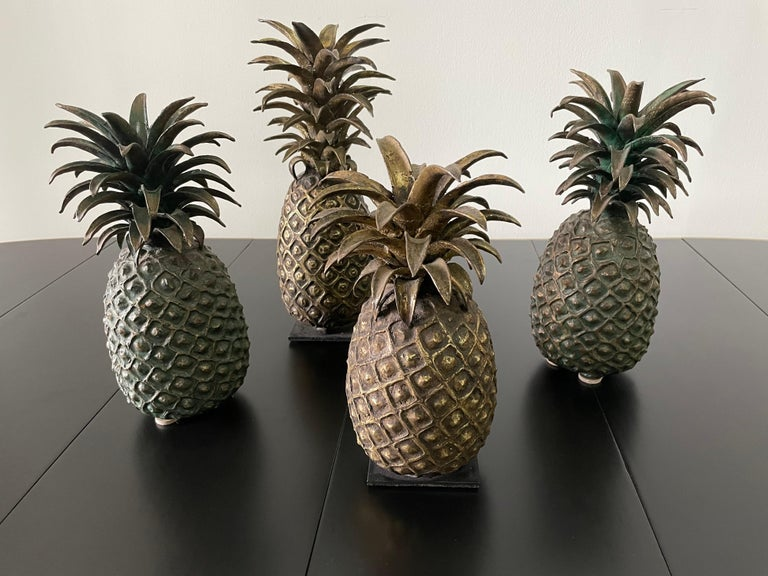 Mid-20th Century Grouping of 4 Vintage Lost Wax Bronze Pineapple Sculptures from Ivory Coast For Sale
