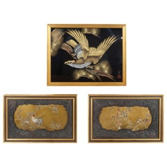 Grouping of Framed 19th and 20th Century Japanese Lacquer Panels
