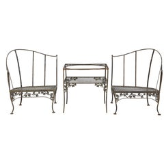 Grouping of Woodard Wrought Iron Garden Corner Chairs with Matching Side Table