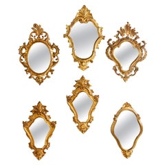Grouping Set of Six Gilded Italian Mirrors