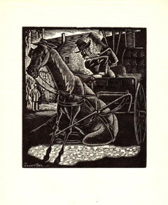 1938 Grover Page 'The First Sit Down Strike' Modernism Black & White,Brown