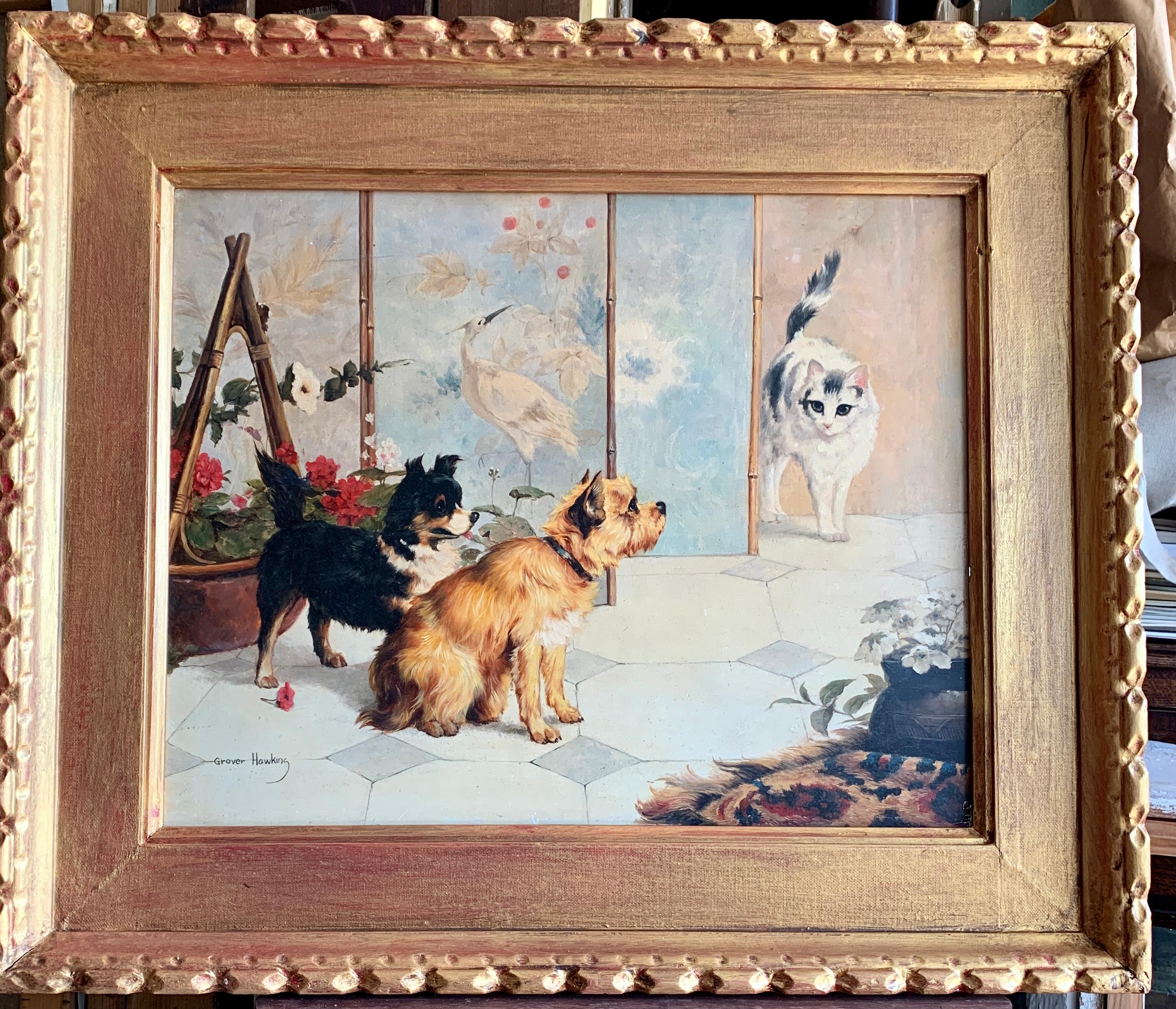 Two Dogs in a Japanese inspired interior surprising a cat