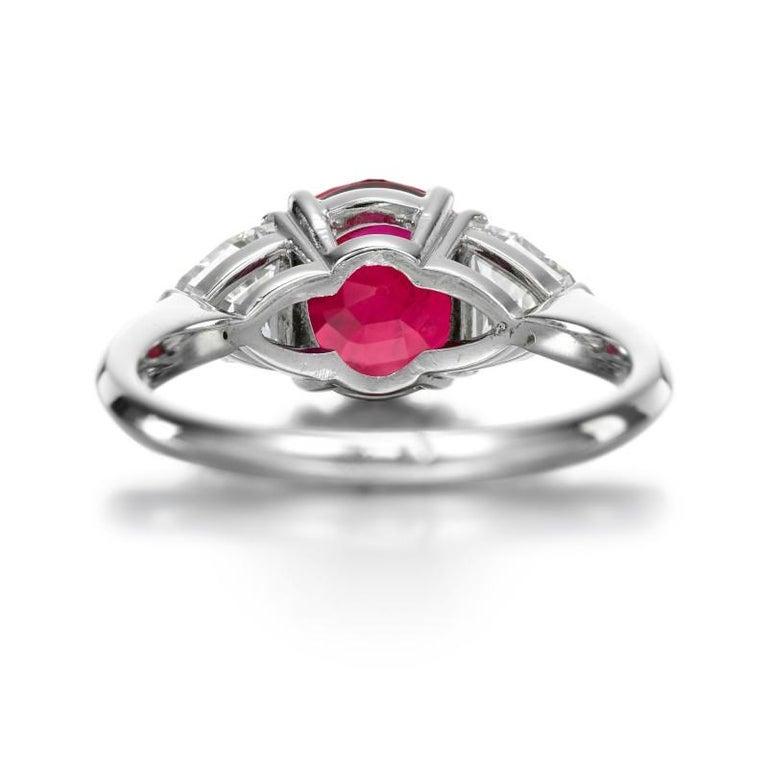 Modern Grs 4.98 Carat Cushion Burma Myanmar No Heat Ruby Diamond Ring For Sale