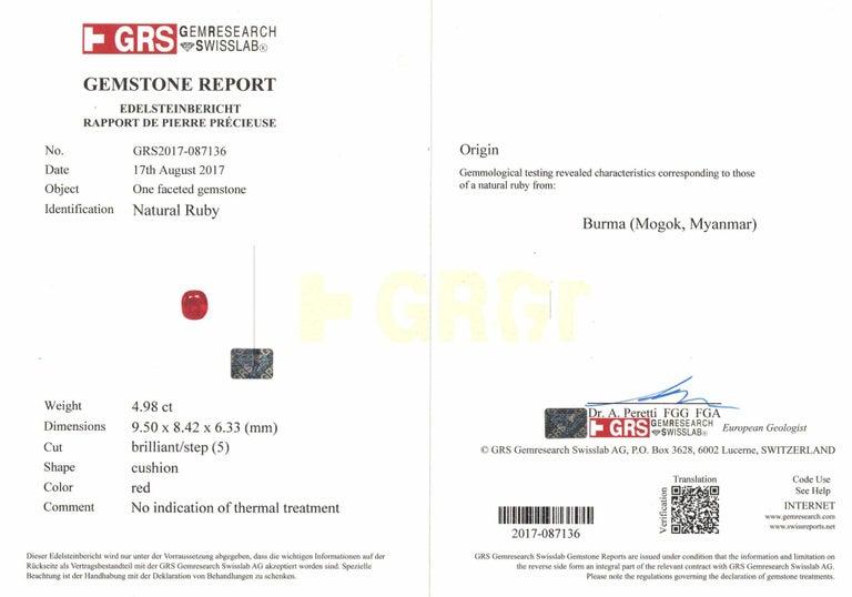 Cushion Cut Grs 4.98 Carat Cushion Burma Myanmar No Heat Ruby Diamond Ring For Sale