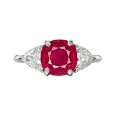 GRS 5 Carat Cushion BURMA Myanmar Ruby Diamond Platinum Ring