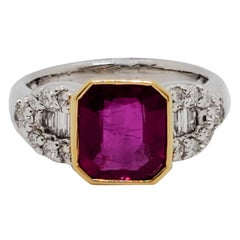 GRS Burma Ruby Cushion and White Diamond Cocktail Ring in Platinum and 18 Karat