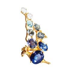 GRS Cert. No Heat Royal Blue Sapphire 18 Karat Rose Gold Engagement Cluster Ring
