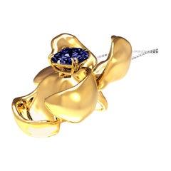 GRS Certified Vivid No Heat Blue Sapphire Pendant Necklace in 18 Karat Gold